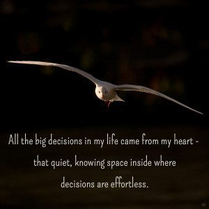 All the big decisions in my life came from my heart. A message brought to you with love, light and blessings from Marci Kobayashi at marcikobayashi.com