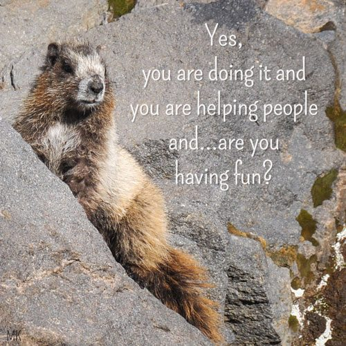 Yes, you are doing it and you are helping people and...Are you having fun? | A message brought to you with love, light and blessings from Marci Kobayashi at marcikobayashi.com