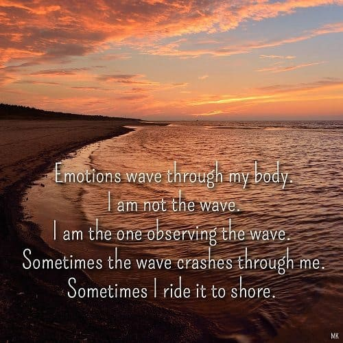 Emotions wave through my body. I am not the wave. I am the one observing the wave. Sometimes the wave crashes through me. Sometimes I ride it to shore. | A message brought to you with love, light and blessings from Marci Kobayashi at marcikobayashi.com