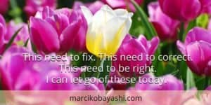 This need to fix. This need to correct. This need to be right. I can let go of these today. | Marci's musings at marcikobayashi.com