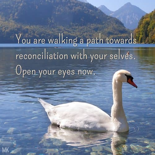 You are walking this path towards reconciliation with your selves. Open your eyes now. | A message brought to you with love, light and blessings from Marci Kobayashi at marcikobayashi.com