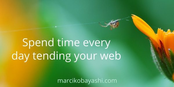 """Spend Time Every Day Tending Your Web"" by Marci Kobayashi, an excerpt from 365 Life Shifts: Pivotal Moments That Changed Everything (365 Book Series) (Volume 3)"