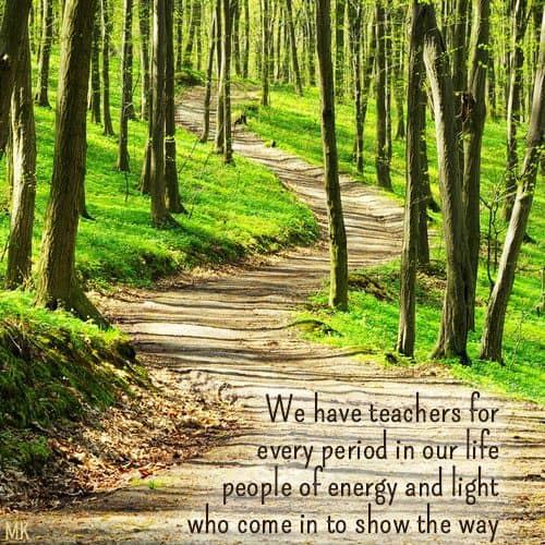 We have teachers for every period in our life - people of energy and light who come in to show the way. | A message brought to you with love, light and blessings from Marci Kobayashi at marcikobayashi.com